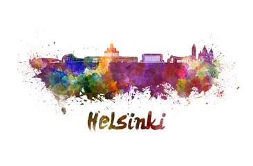 Helsinki skyline in watercolor