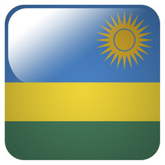 Glossy icon with flag of Rwanda