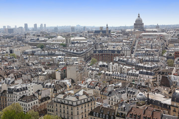 Famous and Beautiful view to Paris from Notre Dame cathedral, Fr