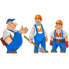 cartoon characters working, builders in the helmet with a shovel