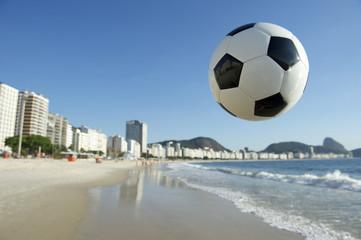 Football Soccer Ball Above Copacabana Beach Rio Brazil