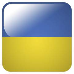 Glossy icon with flag of Ukraine