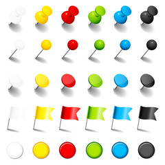 Pins, Needles, Flags & Magnets Color Set Shadow