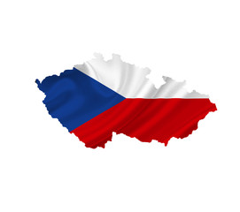 Map of Czech Republic with waving flag isolated on white