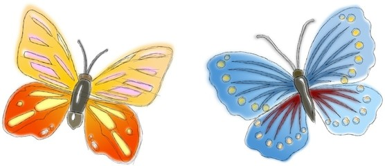 Two sketched butterflies in different pastel colors