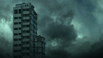 Destroyed skyscraper - view from industrial camera.