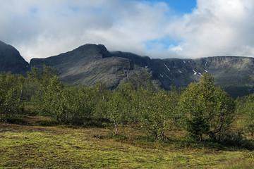 Mounts Vudyavrchorr and Takhtarvumchorr in Khibiny Mountains