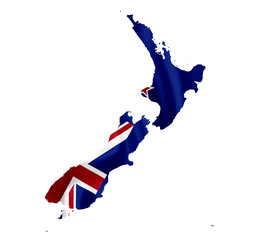 Map of New Zealand with waving flag isolated on white
