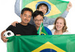 Happy Brazilian football fans with flags and soccer ball, isolat
