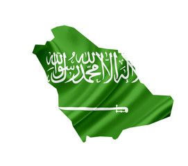 Map of Saudi Arabia with waving flag isolated on white