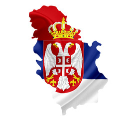 Map of Serbia with waving flag isolated on white