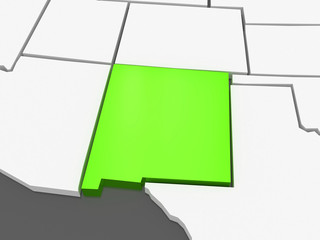 Three-dimensional map of New Mexico. USA.