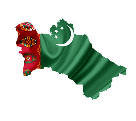 Map of Turkmenistan with waving flag isolated on white