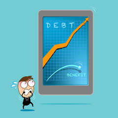 Cute Character businessman shock his debt hight graph.