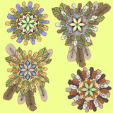 Collection of mandalas of feathers and leaves in boho style poster