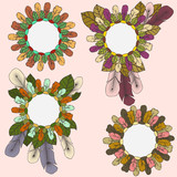 Collection of round frames of feathers and leaves in boho style poster