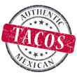 Tacos red round grungy stamp isolated on white background