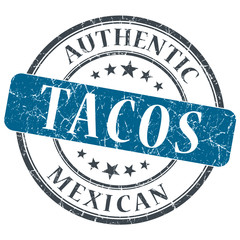 Tacos blue round grungy stamp isolated on white background