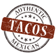 Tacos brown round grungy stamp isolated on white background