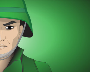 soldier closeup on green background vector, illustration