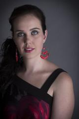 portrait beautiful woman black hair smiling