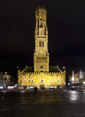 Bell Tower, Bruges, at night