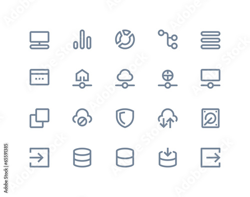 Hosting and wireless network icons. Line series - 65591385