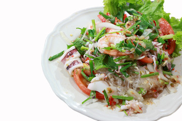 seafood marinated salad on isolate white background