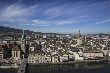 Panoramic view on Zurich city