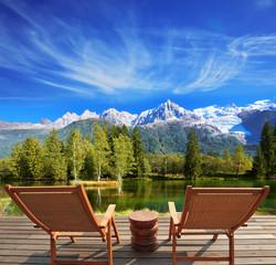 City park in the Alpine resort