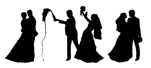 bride and groom silhouettes set 5
