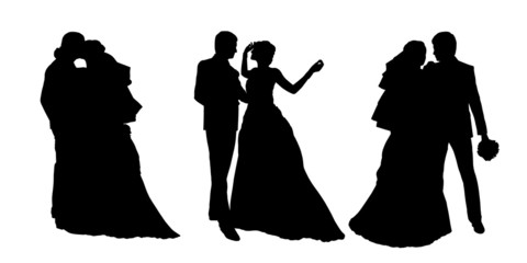 bride and groom silhouettes set 3