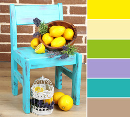Still life with fresh lemons and lavender. Color palette with