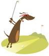 Cartoon dachshund is playing golf
