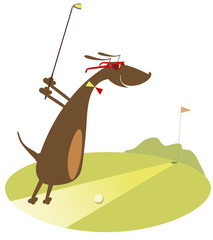 Cartoon dachshund is playing golf