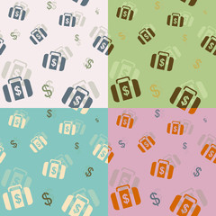 Seamless background four colors: money