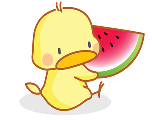 cute cartoon chicks eating watermelon