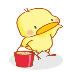 cute cartoon chicks carrying a bucket