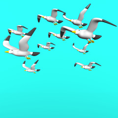 Seagulls On Blue Text Space