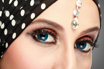 beautiful woman eye with makeup