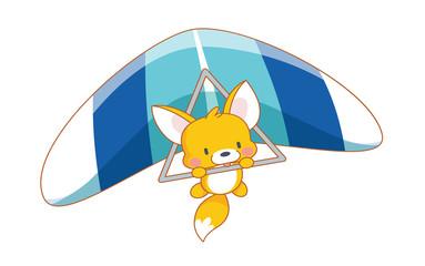 cute cartoon squirrel parachuting