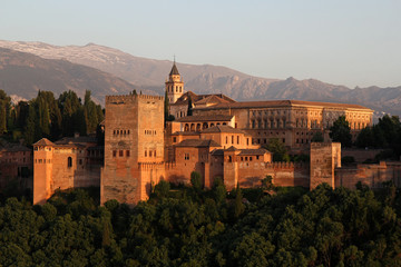 Alhambra during sunset, Granada, Spain