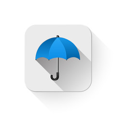 umbrella icon With long shadow over app button