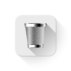 trash can icon With long shadow over app button