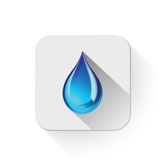 blue water droplet icon With long shadow over app button