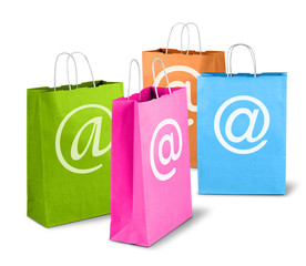Colorful net trade shopping bags
