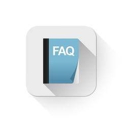 faq icon With long shadow over app button