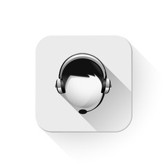 customer service icon With long shadow over app button
