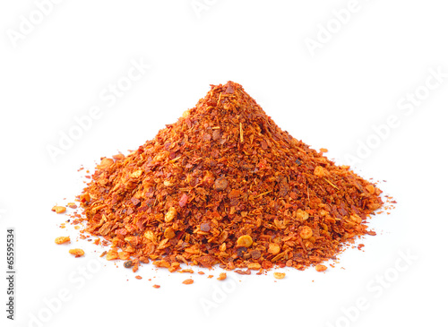 Cayenne pepper on white background - 65595534