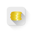 coins icon With long shadow over app button